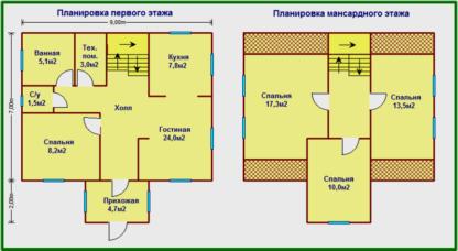 Проект дома С-53 7х9 (130м.кв.)