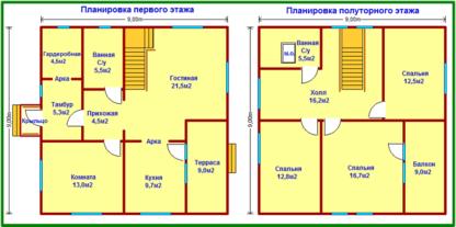 Проект дома С-55 9х9 м