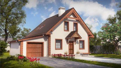 Проект дома с гаражом № 107 — 132 м2 (12,24 х 8,58)