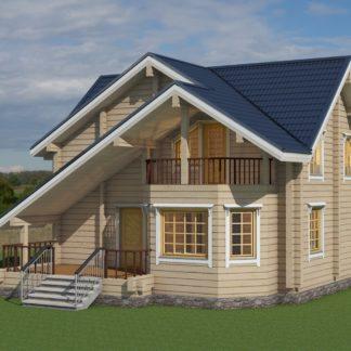 Проект дома с крыльцом и балконом № 1322 — 132 м2 (10 х 8,8)