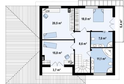 Проект дома № ZX-12 — 216 м2 (16,58 х 10,68)