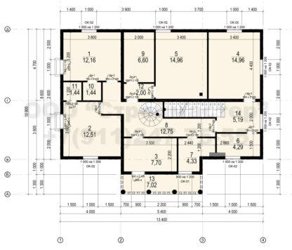 Проект дома № АД-050 — 223 м2 (13,4 х 10,9)