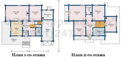 Проект дома № АД-032 — 239 м2 (12,7 х 10,7)