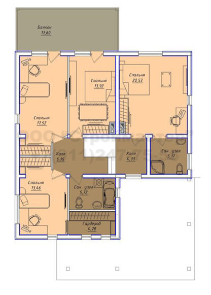 Проект дома № АД-055 — 249 м2 (11,02 х 14,52)