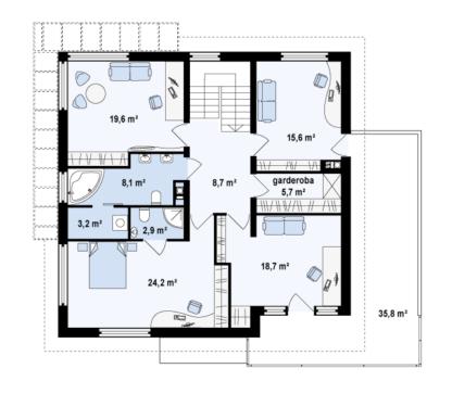 Проект дома ZX-30 - 288 м2 (15 х 13)