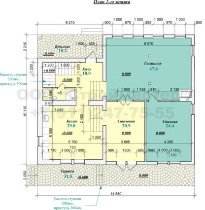 Проект дома № АД-052 — 420 м2 (15 х 12)