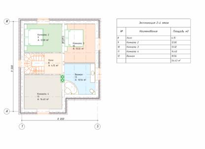 Проект дома в два этажа № 2482 — 124 м2 (10 х 8)