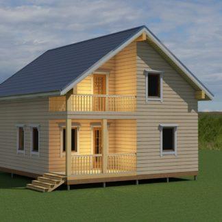 Проект дома с балконом № 220 — 114 м2 (8,8 х 7,3)