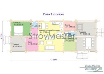 Проект дома № 50 — 92 м2 (17х6)