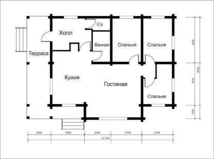 Проект дома № АД-046 — 106 м2 (12,7 х 8,7)