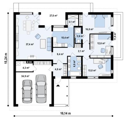 Проект дома Z-144 — 166 м2 (16,14 х 15,24)