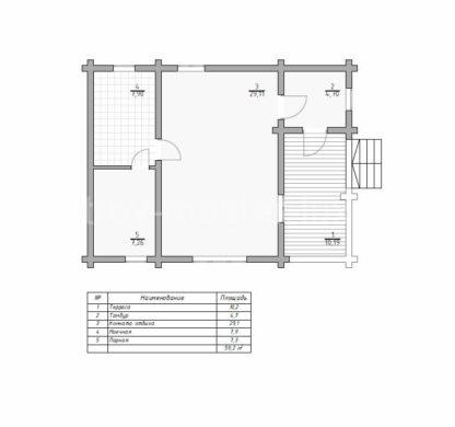 Проект бани №545 — 59 м2 (9,5 х 7)