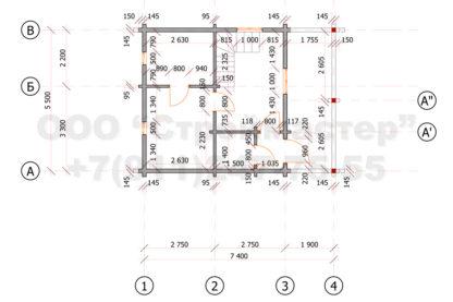 Проект бани №Б-2 — 31 м2 (7,4 х 5,5)