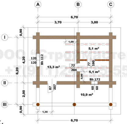 Проект бани Б-3 — 35 м2 (6,7 х 6,2)