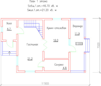 Проект дома №М3112 - 76м2 (11,5 х 7,02)