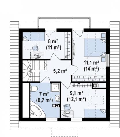 Проект дома № 100 — 107 м2 (8,36 х 8,58)
