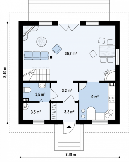 Проект дома № 105 — 111 м2 (8,18 х 8,4)