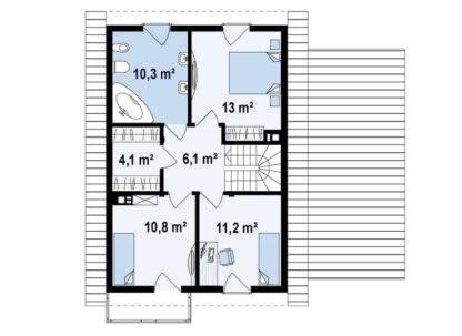 Проект дома ГБН-09 – 141,6 м2 (10,2х10,9)