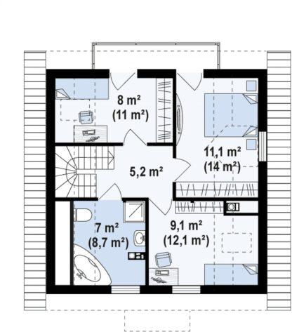 Проект дома ГБН-18 – 107,5 м2 (8,4х8,6)