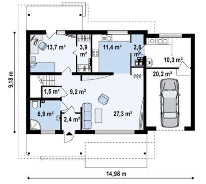 Проект дома ГБН- 27 – 186,4 м2 (9,2х15)