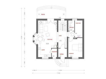 Проект дома с мансардой (11.8 х 13.5)