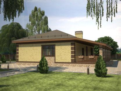 Проект одноэтажного дома №П-22 — 135 М2 (14,7 х 15,93)