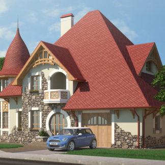 Проект выразительного дома №П-23 — 208 М2 (14,195 х 12,75)