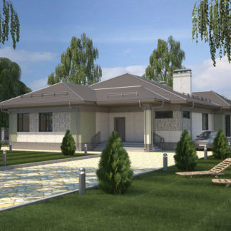 Проект одноэтажного дома №П-27 — 186,8 М2 (24,73 х 15,22)