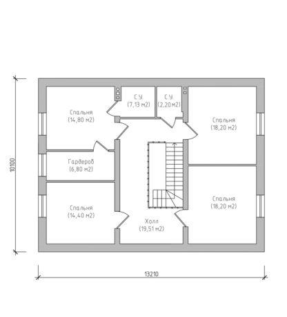 Проект двухэтажного дома №П-09 — 210,1 М2 (15,5 х 13,21)