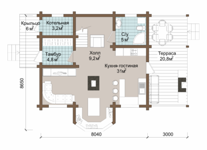 Проект дома № 31 — 127 м2 (8 х 8)
