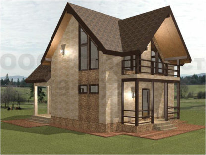 Проект дома № АД-019 — 121 м2 (8,8 х 8,8)